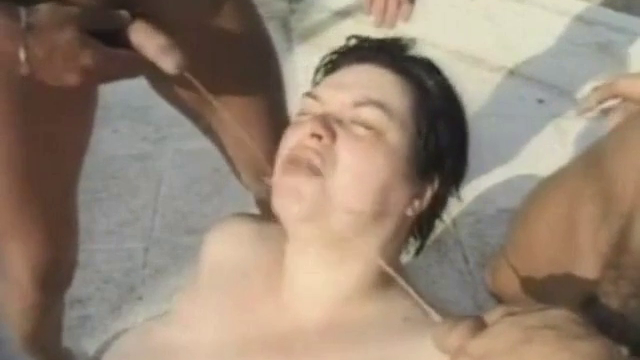 BBW Woman Gets Pissed On By Multiple Men Outdoors Poolside